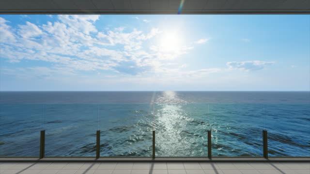 海のバルコニーからの海の景色、夕日のストックビデオ - パティオ点の映像素材/bロール