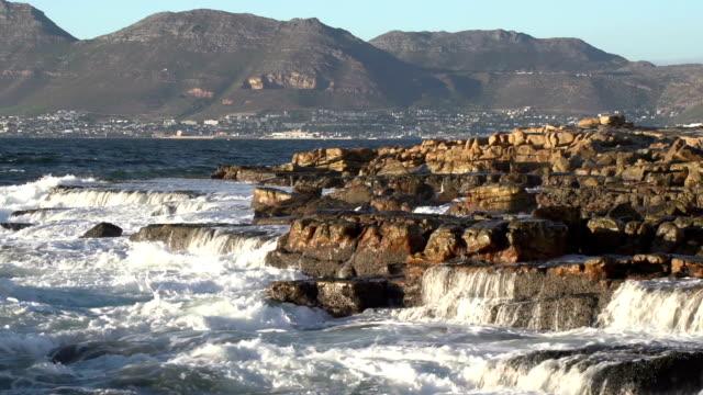 Ocean waves crashing on seashore rocks, Cape Town,South Africa video
