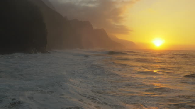 Ocean Waves Crashing on Shore Na Pali Kauai, Hawaii video