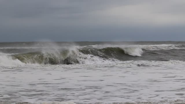 Ocean waves during a tropical storm off the coast of Long Island New York