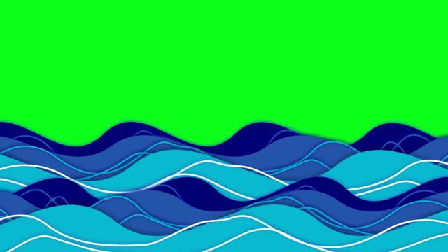 oceanu fale zielony ekran - film animowany filmów i materiałów b-roll