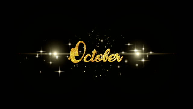 October Beautiful golden greeting Text Appearance from blinking particles with golden fireworks background. video