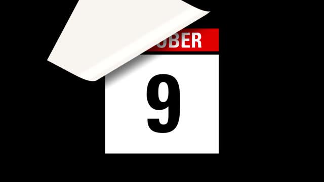 October month calendar HD video