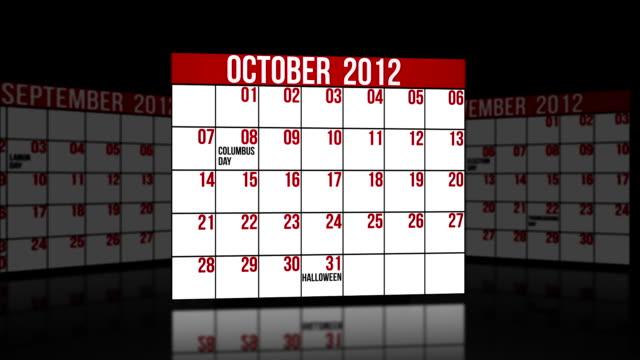 10월, 11월, 2012년 12월 - columbus day 스톡 비디오 및 b-롤 화면