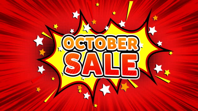 October Sale Text Pop Art Style Comic Expression.