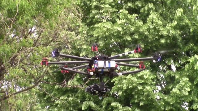 octocopter or drone for professional aerial photography and cinematography performing in flight a hovering maneuver - djurarm bildbanksvideor och videomaterial från bakom kulisserna