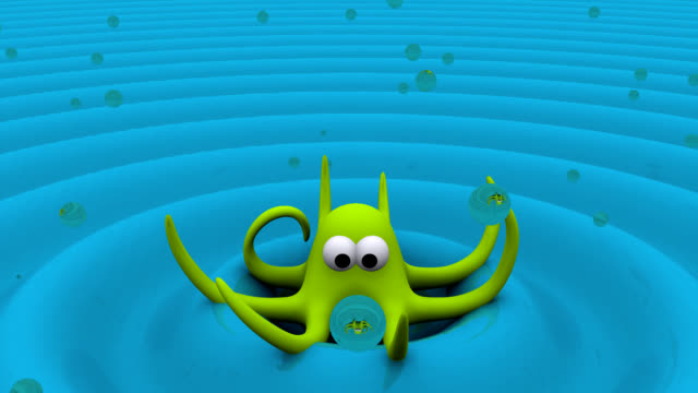 3D Octopus Animation with Bubbles video
