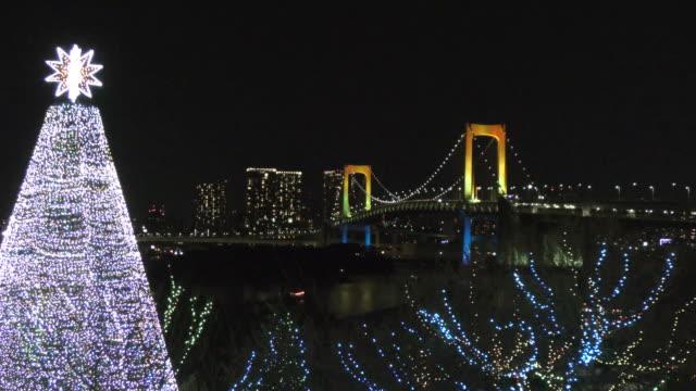 お台場の夜景 - クリスマスツリー点の映像素材/bロール