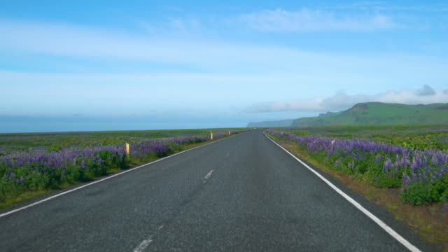 fpv of car driver pov driving along countryside road of southern iceland. - strada transitabile video stock e b–roll