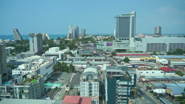of Pattaya city with architecture building nearly sea ocean beach in Thailand