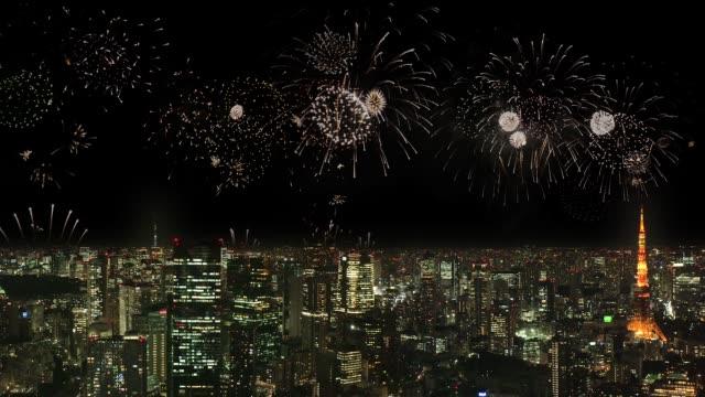 東京の街並みと花火 - 花火点の映像素材/bロール