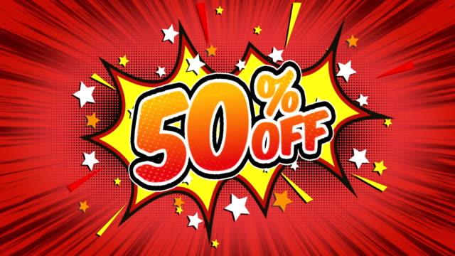 50% off - comic style text - распродажа стоковые видео и кадры b-roll