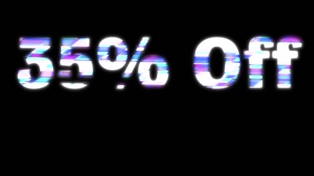 35% off glitchy words - дискаунтер стоковые видео и кадры b-roll