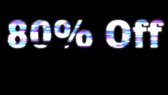 80% off glitchy words - дискаунтер стоковые видео и кадры b-roll