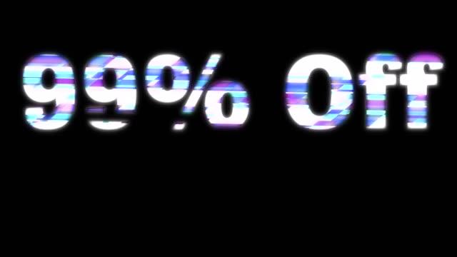 99% off glitchy words - дискаунтер стоковые видео и кадры b-roll