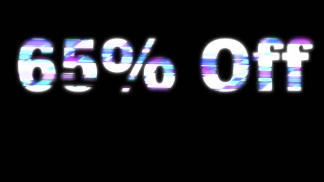 65% off glitchy words - дискаунтер стоковые видео и кадры b-roll