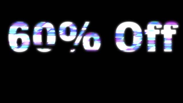 60% off glitchy words - дискаунтер стоковые видео и кадры b-roll