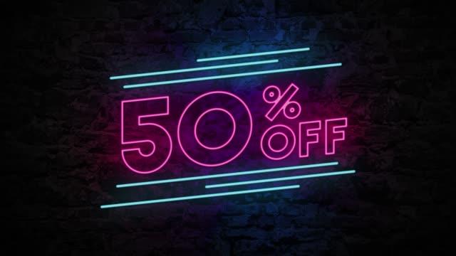 50% Off Neon Sign On Brick Background 4K Animation