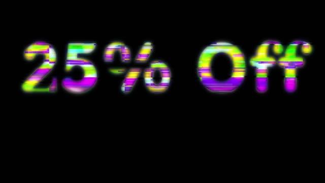 25% off scan line words - zahl 25 stock-videos und b-roll-filmmaterial