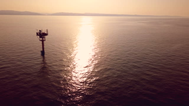 Off shore natural gas station in Italian mediterranean sea video