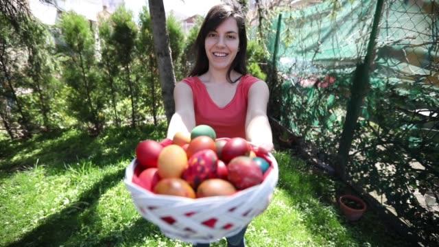 Offering Basket Full of Easter Eggs