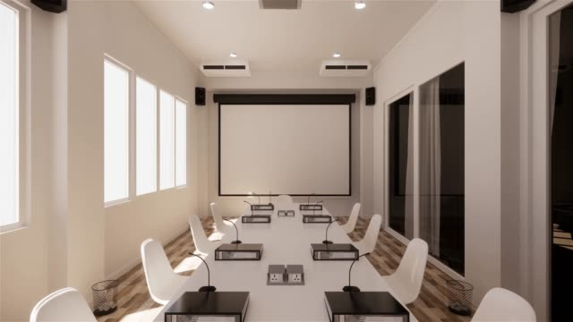 Office business - beautiful boardroom meeting room and conference table, modern style. 3D rendering Office business - beautiful boardroom meeting room and conference table, modern style. 3D rendering barren stock videos & royalty-free footage