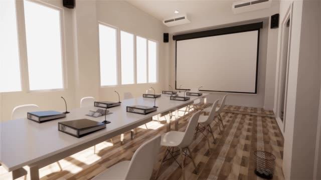 офисный бизнес - красивый зал заседаний и конференц-стол, современный стиль. 3d рендеринг - space background стоковые видео и кадры b-roll