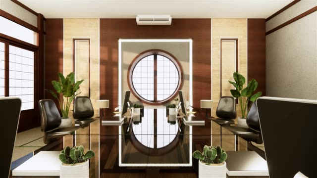 Office business - beautiful japanroom meeting room and conference table, modern style. 3D rendering
