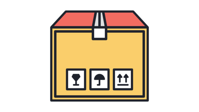 Office Relocation Flat Line Icon Animation with Alpha