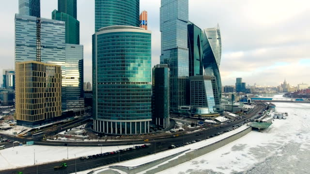 Office skyscrapers in winter day. Aerial. video