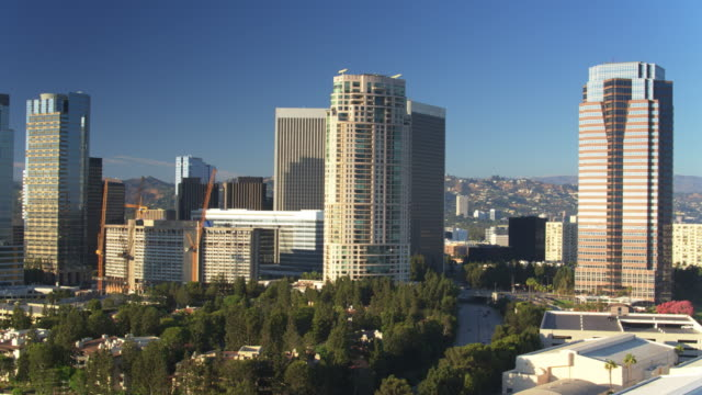 Office Towers and Shopping Mall in Century City, Los Angeles - Aerial Pan video