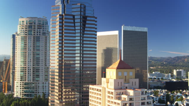 Office Towers and Tower Cranes in Century City, Los Angeles - Drone Shot video