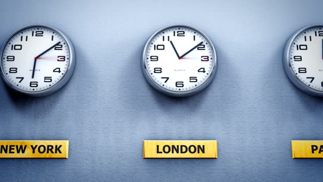 Office wall clocks showing different world time World time on office wall clocks time zone stock videos & royalty-free footage
