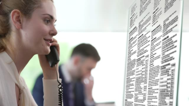 Office woman on phone clear screen