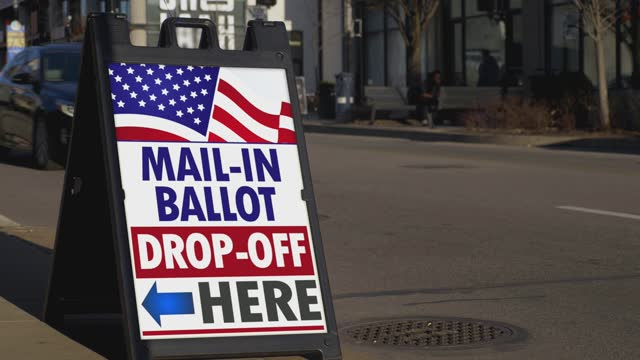 Official Mail-In Ballot Drop-off Sign on Street