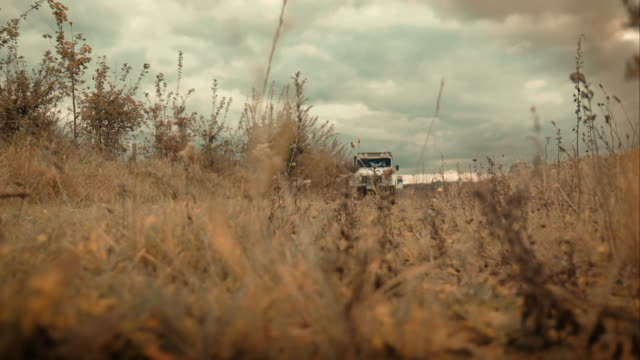 Off-road car driving through fields video