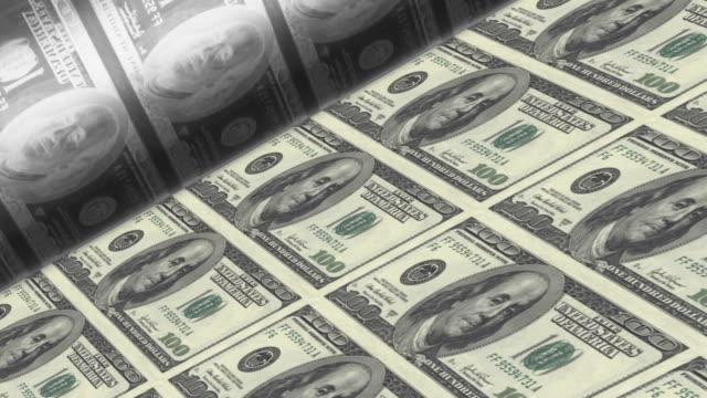 Offset Printing US dollar banknotes (100 bill sheet). video