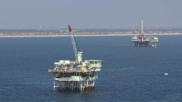 AERIAL Offshore oil platforms in California
