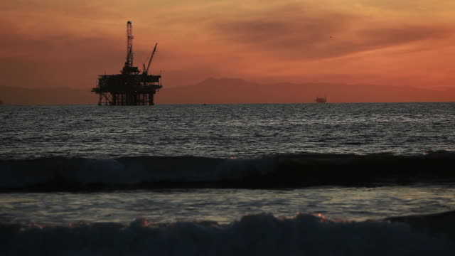 Off-shore Oil Rig at Sunset video