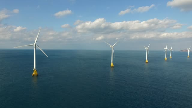 offshore wind turbines, jeju island, south korea - turbina a vento video stock e b–roll