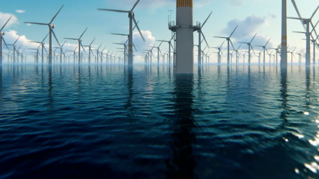 offshore windmills against beautiful sky, flight oversea - sustainability video stock e b–roll