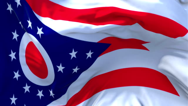 Ohio Flag Waving in Wind Slow Motion Animation . 4K Realistic Fabric Texture Flag Smooth Blowing on a windy day Continuous Seamless Loop Background.