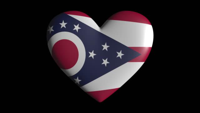 ohio kalp pulsatşeffaf arka plan döngüsü, alfa kanal izole - columbus day stok videoları ve detay görüntü çekimi