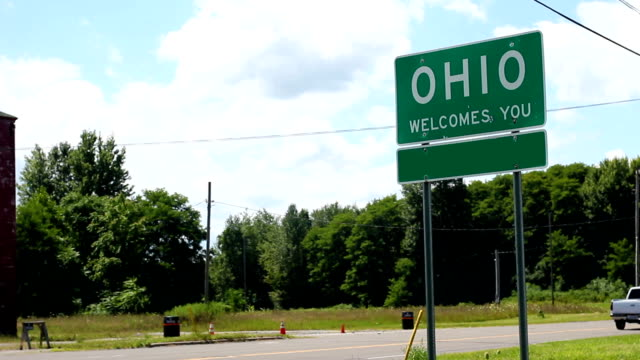 A Ohio sign with the county blanked out for generic use