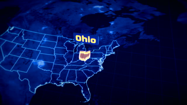 Us Ohio State Border 3d Visualization Modern Map Outline Travel