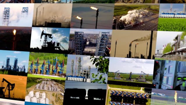 Oil and gas industry collage. FullHD