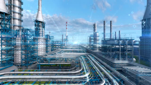 Oil and gas refinery plant factory with chemical formula design, industry petroleum zone, pipe steel and oil storage tank at blue day sky. Abstract camera move, aerial drone fly. 3D generated image.