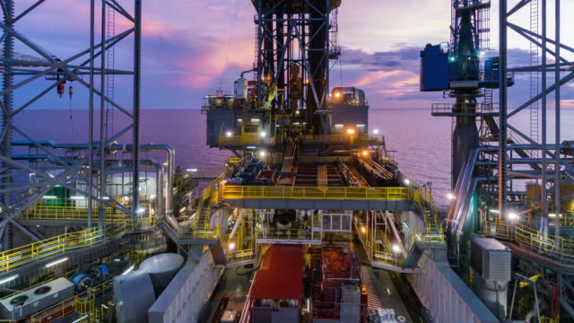 oil drilling rig operation time lapse night to day video