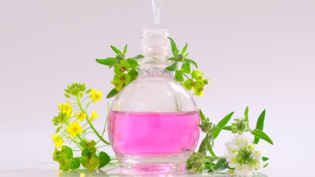 vídeos de stock, filmes e b-roll de produto de flor de essência de óleo. perfumaria. gotas caindo de pipeta cosmética para garrafa de vidro com perfume. cuidados com a pele e o corpo. líquidos de ervas aroma - aromaterapia