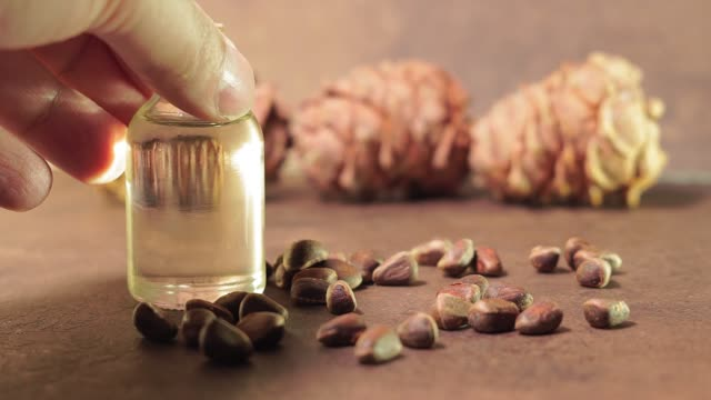 oil from pine nuts. the concept of healthy food. use of oil for cosmetic purposes - pinolo video stock e b–roll